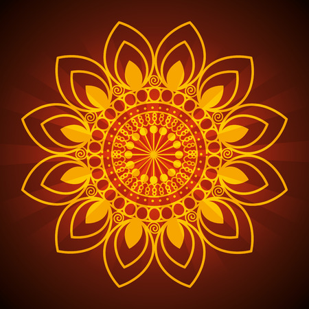 diwali flower with petals mandalas decoration vector illustration Illustration