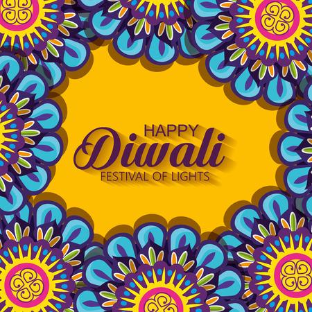 diwali flowers hindu mandalas background vector illustration