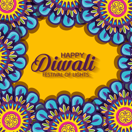 diwali flowers hindu mandalas background vector illustration