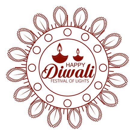 flower and candles hindu emblem to diwali festival vector illustration Ilustração
