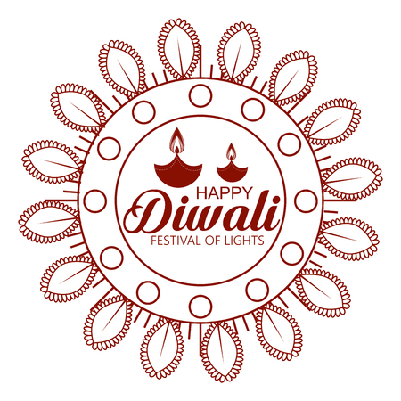 flower and candles hindu emblem to diwali festival vector illustration Illustration
