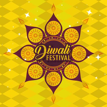 diwali flower and hindu mandalas background vector illustration
