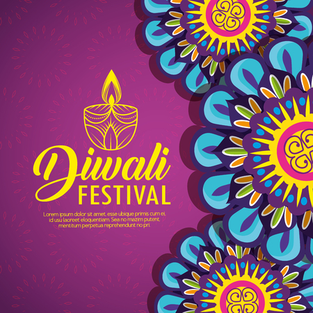 flower mandalas and candle with diwali festival vector illustration  イラスト・ベクター素材