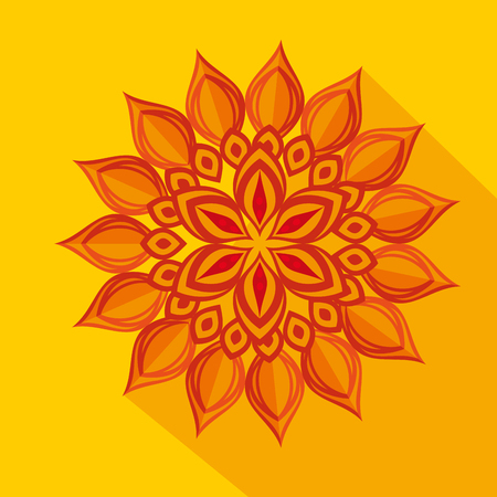 diwali flower decoration over yellow background vector illustration