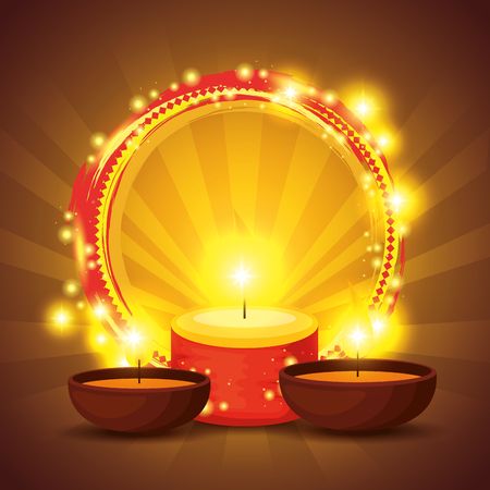 diwali candles to hindu lights festival vector illustration