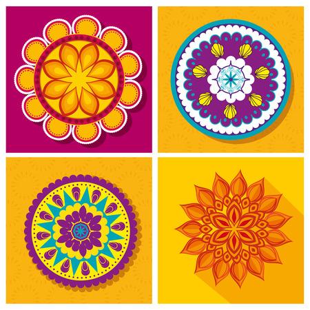 set flower mandalas decoration festival vector illustration  イラスト・ベクター素材
