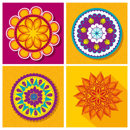set flower mandalas decoration festival vector illustration Illustration