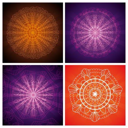 set ornamental flowers hindu mandalas vector illustration