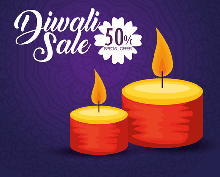 candles decoration to diwali hindu festival vector illustration