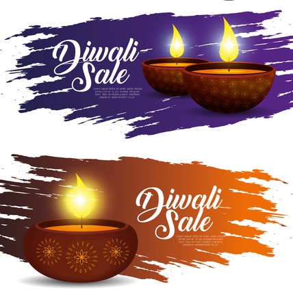 set lights candles decoration to diwali festival vector illustration