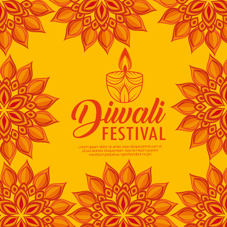 mandalas flowers and candles to diwali light festival vector illustration