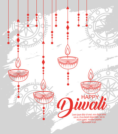 diwali candle hanging to light festival vector illustration  イラスト・ベクター素材