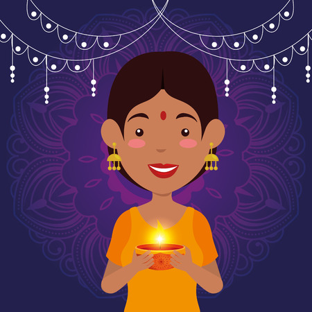 hindu woman with candle and lights hanging vector illustration