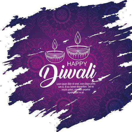 Decoración de velas de diwali para iluminar la ilustración de vector de festival