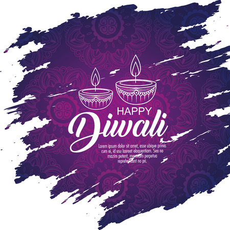 diwali candles decoration to light festival vector illustration