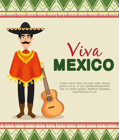 maxican mariachi with poncho and hat to event vector illustration