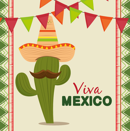 cactus with mexican hat and mustache to celebrate event vector illustration Illustration