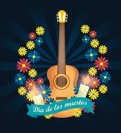 guitar with candles and flowers to day of the dead vector illustration