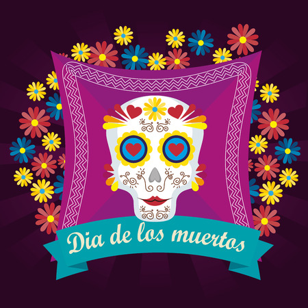 skull with flowers and hearts to day of the dead vector illustration