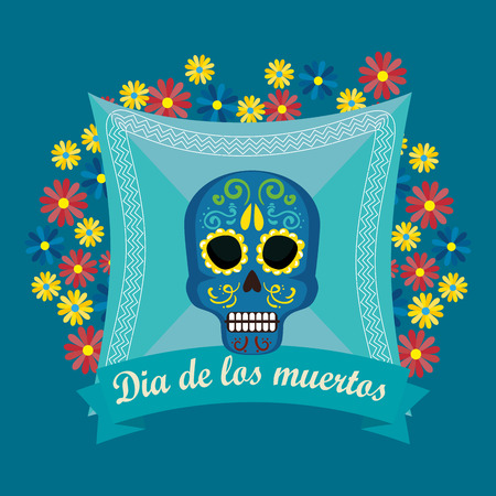 skull with flowers to special day of the dead vector illustration