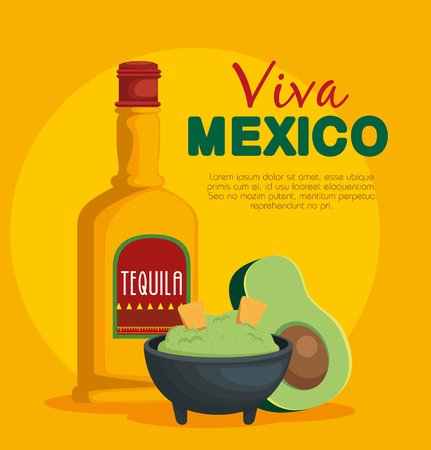 avocado sauce with tequila traditional mexican food vector illustration Illustration