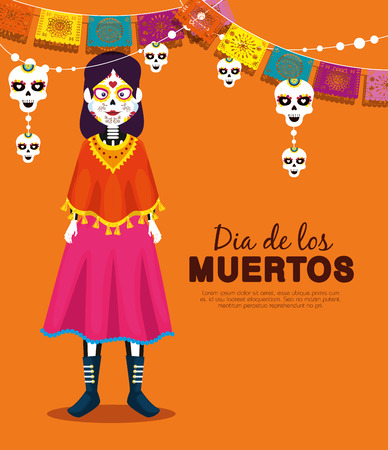 catrina with skull party banner to celebrate event vector illustration Stock Illustratie