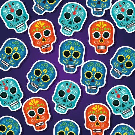 skulls background to dead of the dead event vector illustration