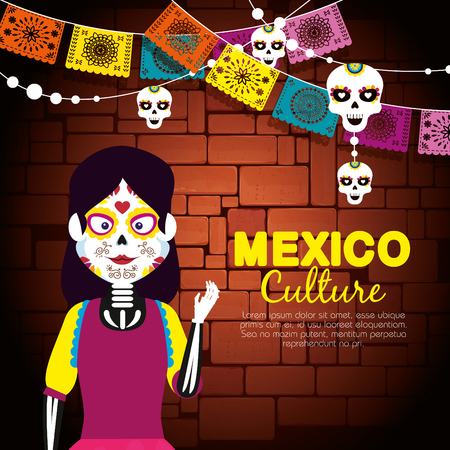 catrina with skull party banner to day of the dead vector illustration Vectores