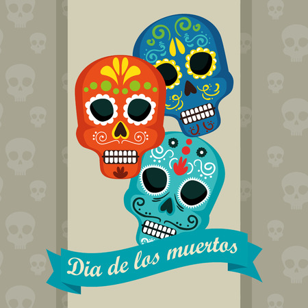skulls with ribbon to day of the dead event vector illustration