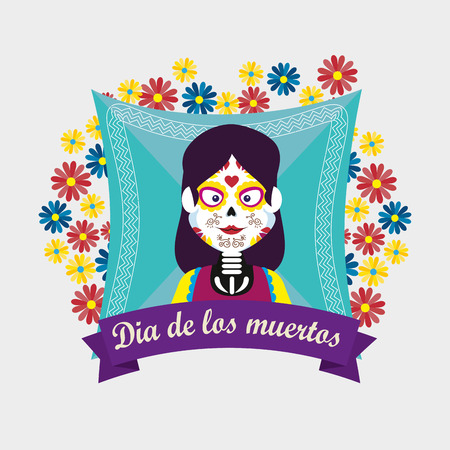 catrina with flowers and ribbon to day of the dead vector illustration