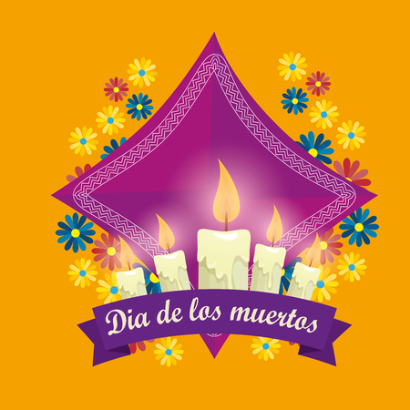 candles with flowers to day of the dead event vector illustration