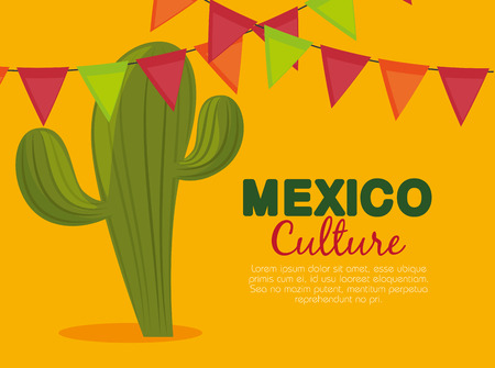 cactus and party banner to celebrate event vector illustration