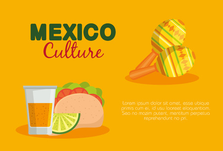 mexican tacos and tequila with maracas to event vector illustration