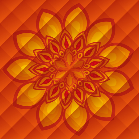 diwali flower decoration over orange background vector illustration