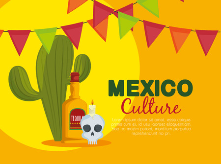 cactus with skull and tequila to traditional event vector illustration