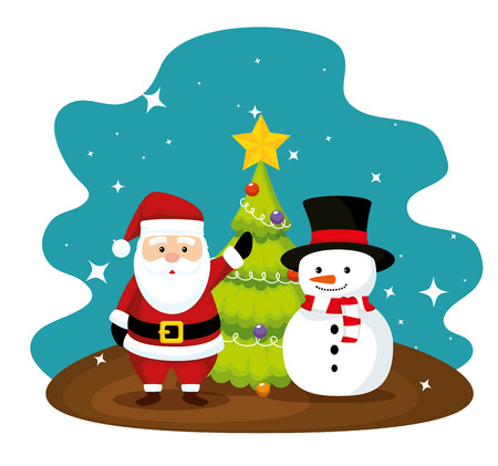 santa claus and pine tree with snowman vector illustration