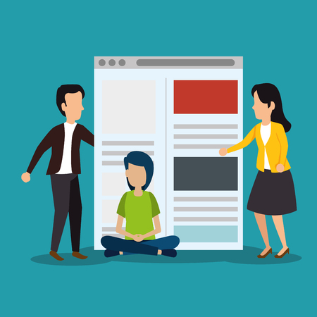 people with website technology social information vector illustration