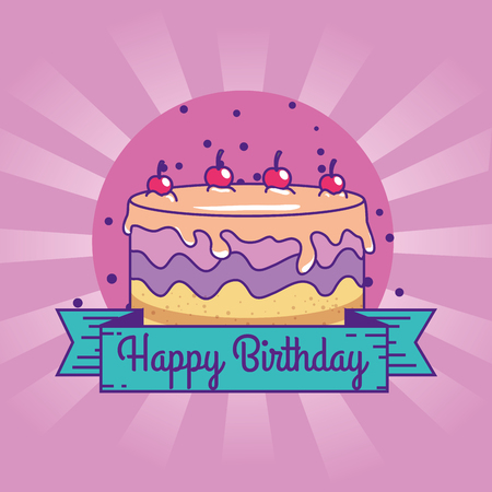 happy birthday with cake and cherrys decoration vector illustration Illustration