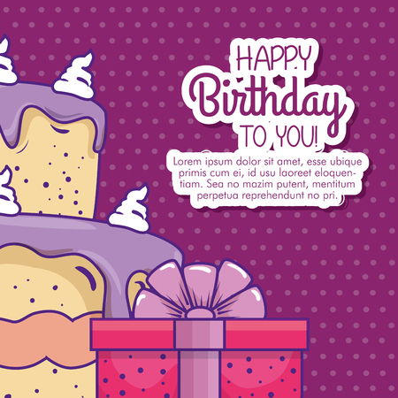 cake and present gift with ribbon bow vector illustration