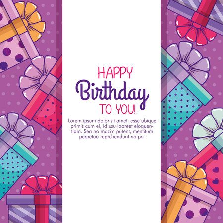 happy birthday card to presents gifts decoration vector illustration 向量圖像