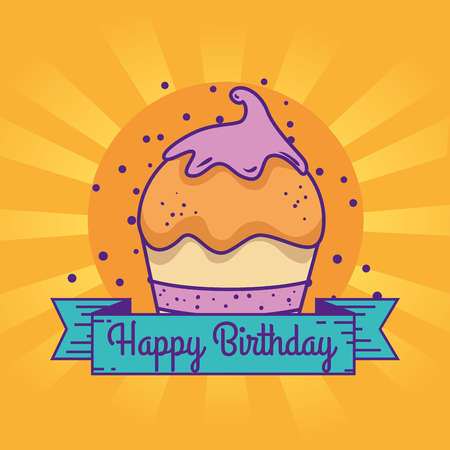 muffin with ribbon to celebrate happy birthday vector illustration