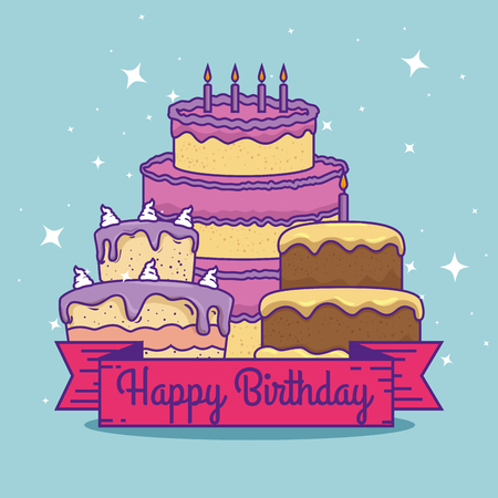 cakes with ribbon decoration to celebrate birthday vector illustration