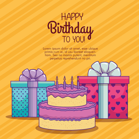 presents gifts with ribbon bow and cake with candles vector illustration