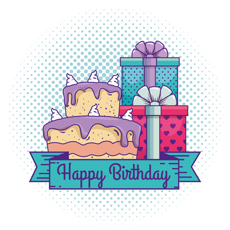 happy birthday with presents gifts and cake vector illustration