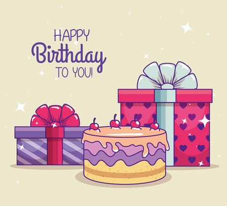 happy birthday with presents gifts and ribbon bow vector illustration