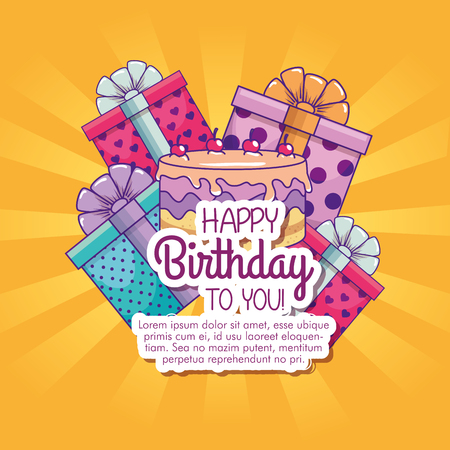 happy birthday with presents gifts decoration vector illustration