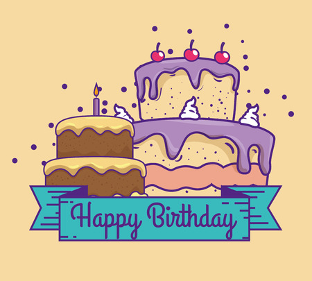 cakes with cherrys and candle to happy birthday vector illustration