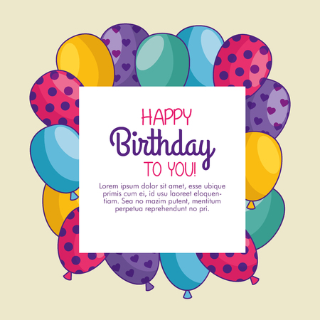 happy birthday card with balloons decoration vector illustration