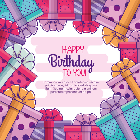 presents gifts with ribbon bow to celebrate birthday vector illustration