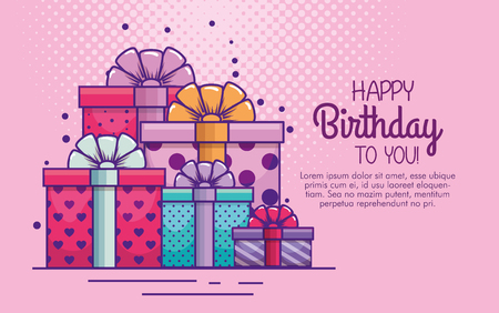 presents gifts with ribbon bow to birthday vector illustration